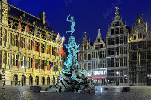 City Hall, Brabo fountain and Houses of Guilds in Antwerp