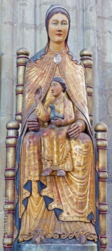 Leuven - polychrome statue of Madonna in cathedral