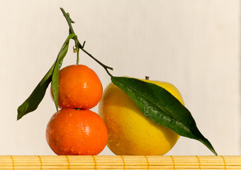 Tangerines and an apple in front of a white wall