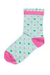 Light green knitted socks with hearts