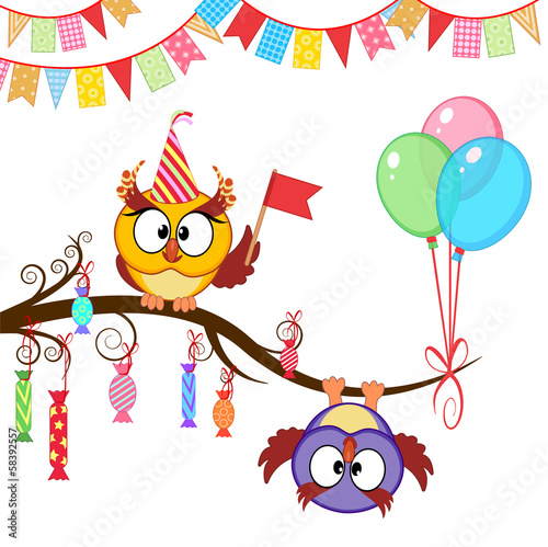greeting card with funny owls