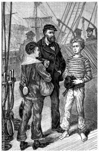 Captain & Ship Boys -  2 Mousses - 19th century