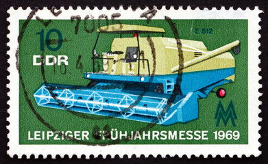 Postage stamp GDR 1969 Combine, Agricultural Machine