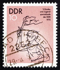 Postage stamp GDR 1975 Torch Bearer