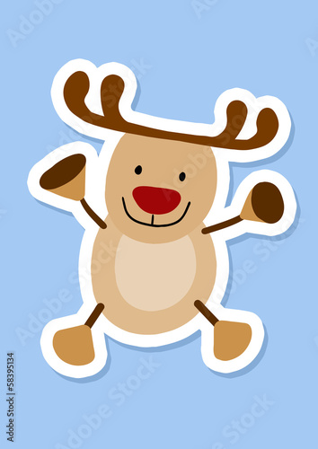 Reindeer sticker, simple vector muppet Rudolph