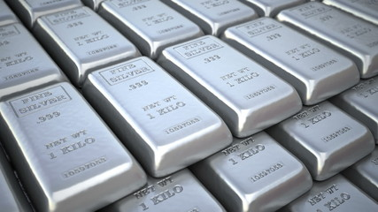 Silver ingots in bank vault