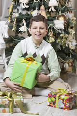 Boy receives a big Christmas gift