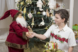 Handshake with Santa Clause