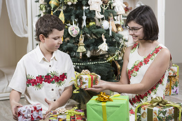 Exchanging Christmas gifts