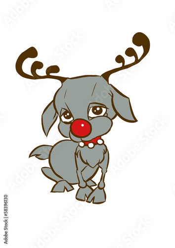 Sweet , sad, cute and shy sitting reindeer, cartoon style