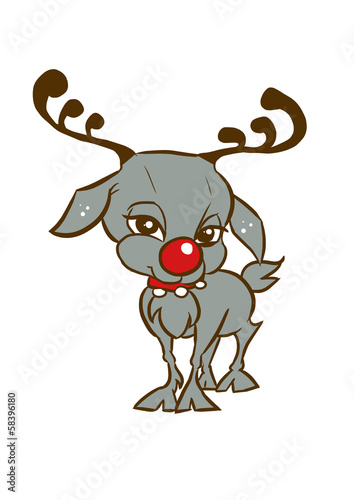 Sweet cute little standing reindeer, vector in Disney style