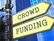 Crowd Funding. Yellow Roadsign.
