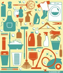 Set of cleaning icon