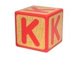 Letter K on Childrens Alphabet Block.