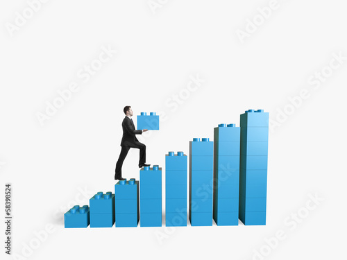 businessman climbing to conctructor