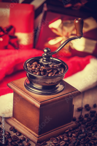 Coffee machine at christmas background