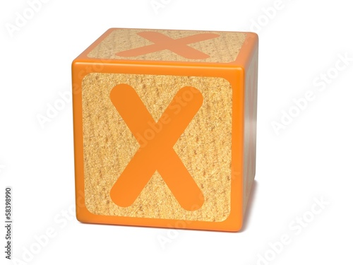Letter X on Childrens Alphabet Block.