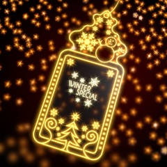 noble christmas label with winter special sticker