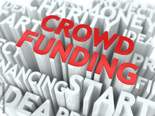 Crowd Funding. Wordcloud Concept.