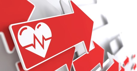 Icon of Heart with Cardiogram Line on Red Arrow.