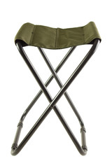 Green folding camping chair , isolated on white