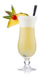 Yellow milk cocktail with berries and pineapple slice isolated