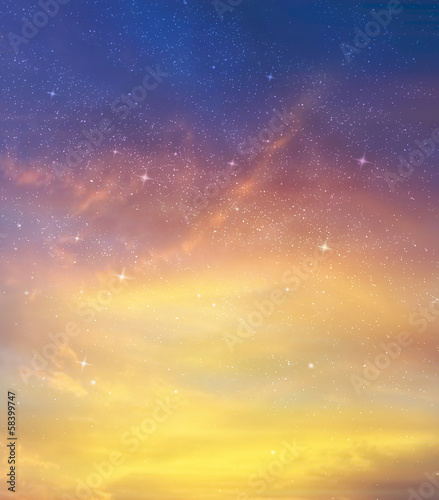 Stars and evening sky as background