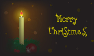 Christmas background with candle and wish of Merry Christmas
