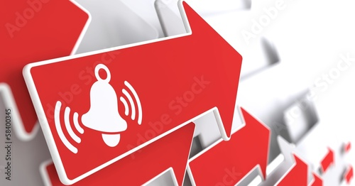 Ringing White Bell Icon on Red Arrow.
