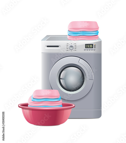 Washing Machine With Laundry