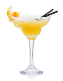 Fototapety Yellow alcohol cocktail with goose berries isolated on white