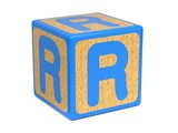 Letter R on Childrens Alphabet Block.