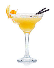 Yellow alcohol cocktail with goose berries isolated on white