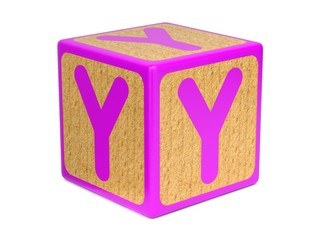 Letter Y on Childrens Alphabet Block.
