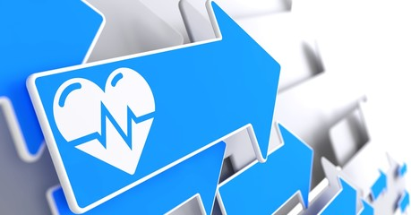 Icon of Heart with Cardiogram Line on Blue Arrow.