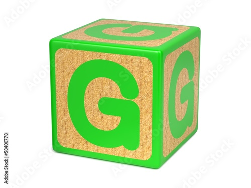 Letter G on Childrens Alphabet Block.