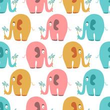 Nahtlose Muster mit niedlichen bunten Tieren