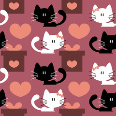 Seamless patterns with cute kittens in love