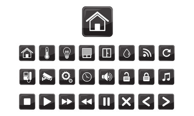 Home automation system icons and buttons