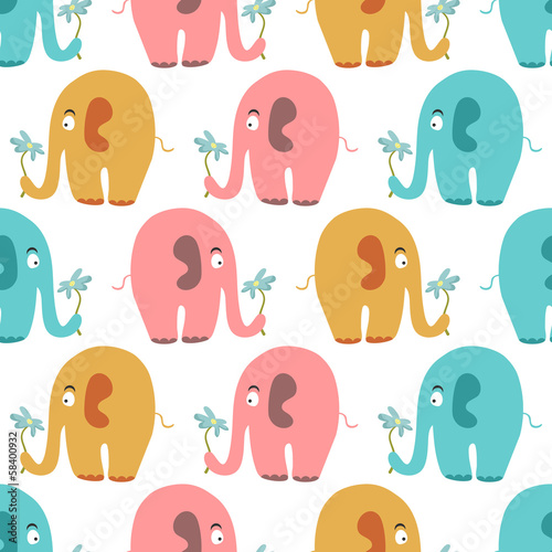 Seamless pattern with cute colorful animals