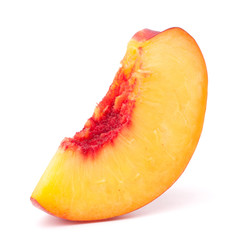 Nectarine fruit segment isolated on white background cutout