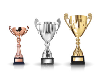 three different kind of trophies. Isolated on white background