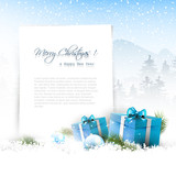 Fototapety Christmas winter landscape with blue gift boxes and copyspace