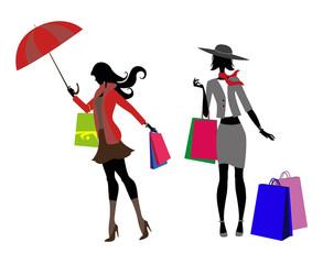 silhouette di donne con buste dello shopping