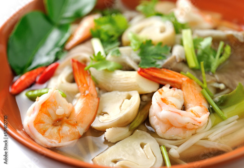 Thai Food Shrimp soup with mushrooms (Tom Yum Goong)