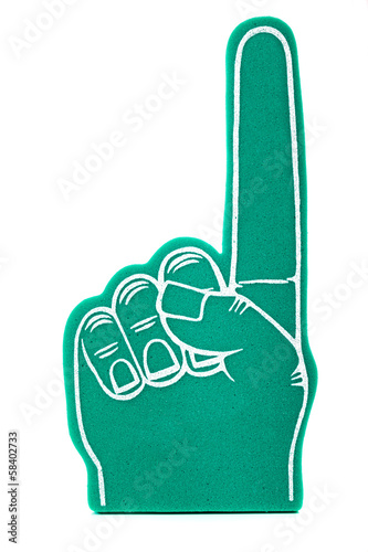 canvas print picture Foam fan finger on a white background