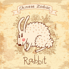 Vintage card with Chinese zodiac - Rabbit