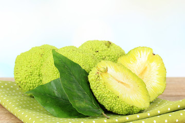 Osage Orange fruits (Maclura pomifera), on wooden table