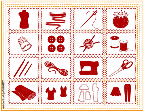 Sewing, Tailoring, Knit, Crochet, Craft Icons, gold stitch frame