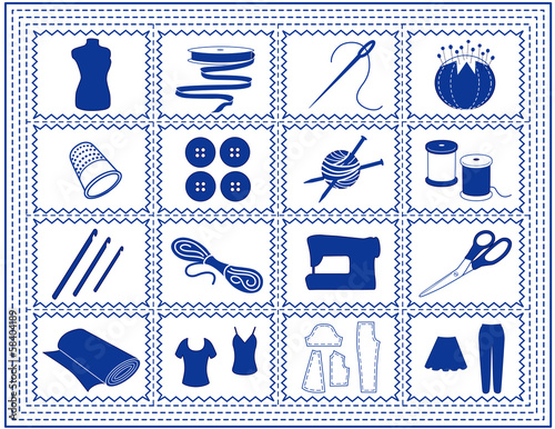 Sewing, Tailoring, Knit, Crochet, Craft Icons, blue stitch frame